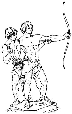 Loki engaña a Hod para que mate a Balder. Mitología germánica