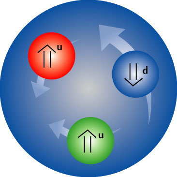 Dos quarkss up y un quark down, estructura que define un protón