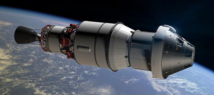 Imagen artística de la nave Orion con el módulo de servicio ATV