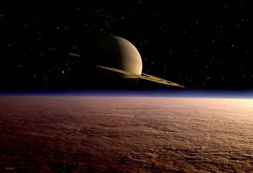 Saturno sobre Titán.