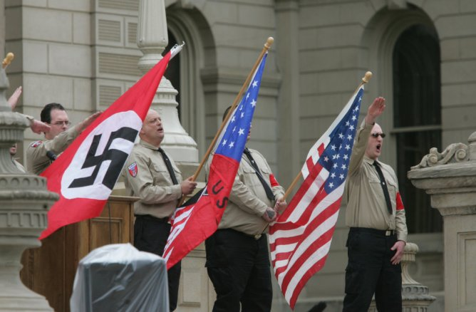 Neo Nazis National Socialists Movement rally in East Lansing, Michigan