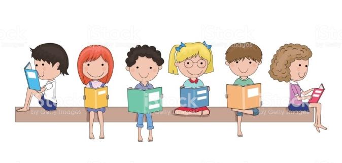 Happy school children reading books in their hands cartoon - education concept