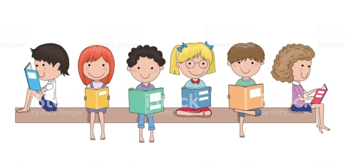 Happy school children reading books in their hands cartoon - education concept