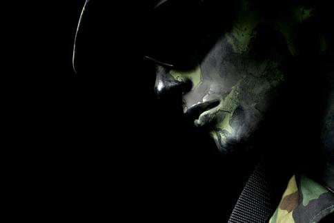 Army soldier dummy portrait with shadows