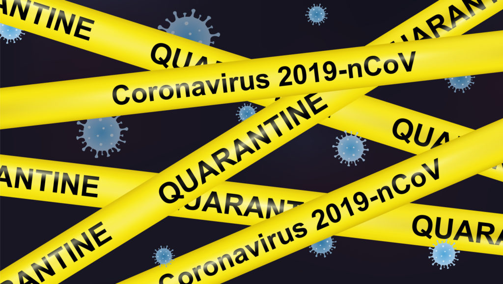 Vector Coronavirus covid-19 or 2019-nCoV quarantine poster with yellow stripes.